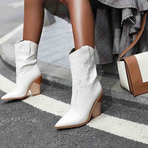 Pointed Toe Chunky Heel Slip-On Plain Mid Calf Boots