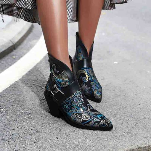 Back Zip Pointed Toe Chunky Heel Serpentine Ankle Boots