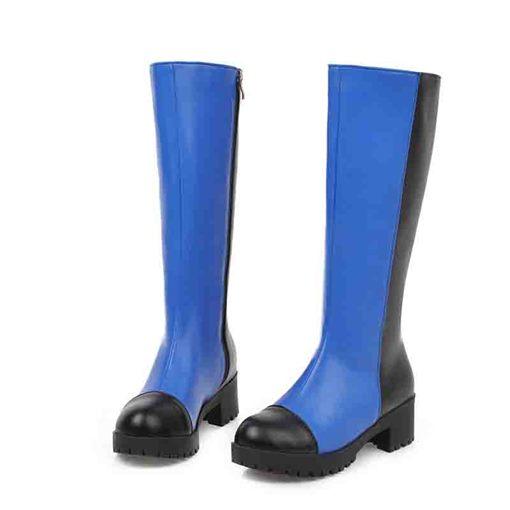 Round Toe Side Zipper Color Block Knee High Boots