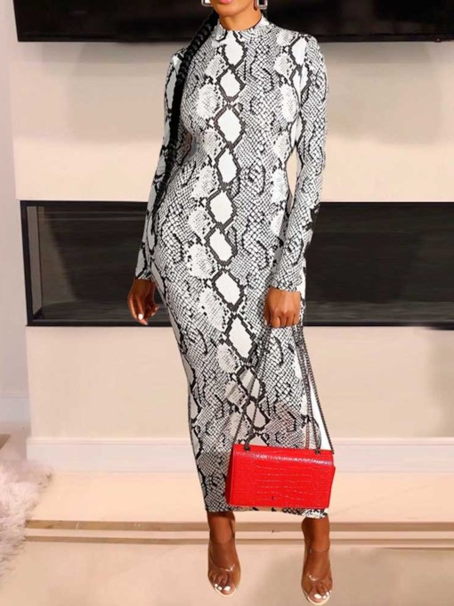 Stand Collar Long Sleeve Feather Ankle-Length Serpentine Women's Maxi Dress