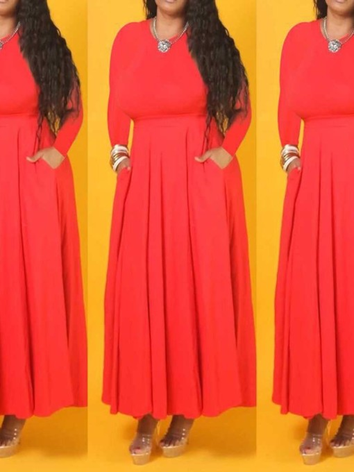 Round Neck Ankle-Length Long Sleeve Pleated Fall Women's Maxi Dress