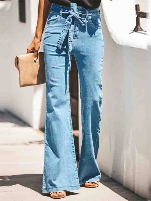 waschbare Bellbottoms Slim Damenjeans