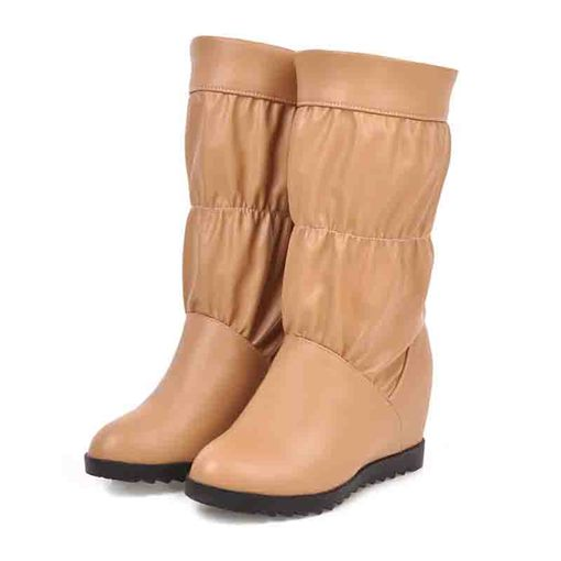 Round Toe Slip-On Plain Casual Knee High Boots