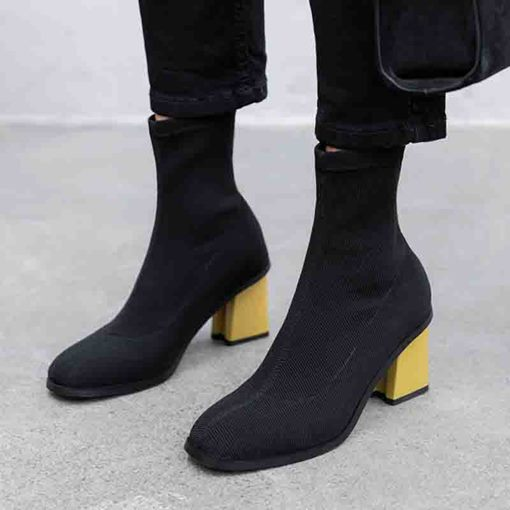 Chunky Heel Slip-On Round Toe Color Block Ankle Boots