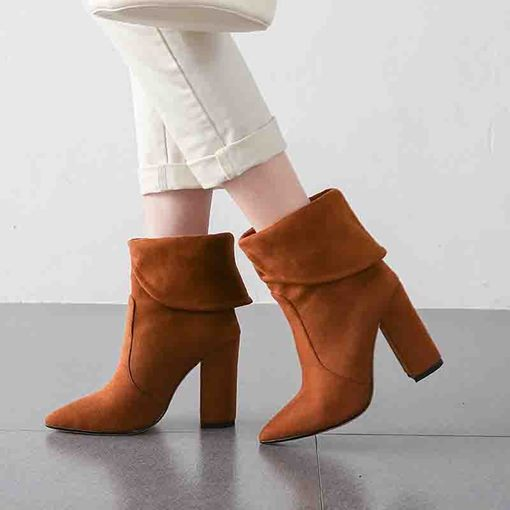 Slip-On Chunky Heel Pointed Toe Casual Ankle Boots