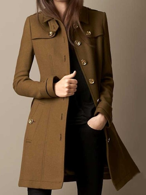 Single-Breasted Slim Button Regular Mid-Length Women's Overcoat