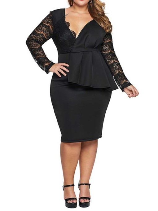 Plus Size Hollow Long Sleeve V-Neck Knee-Length Plus Size Women's Dress