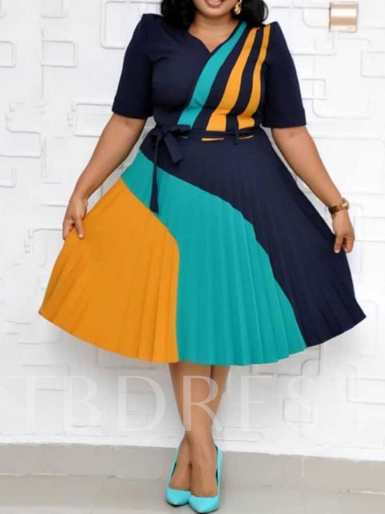 Plus Size Mid-Calf Pleated V-Neck Short Sleeve Color Block Women's Dress