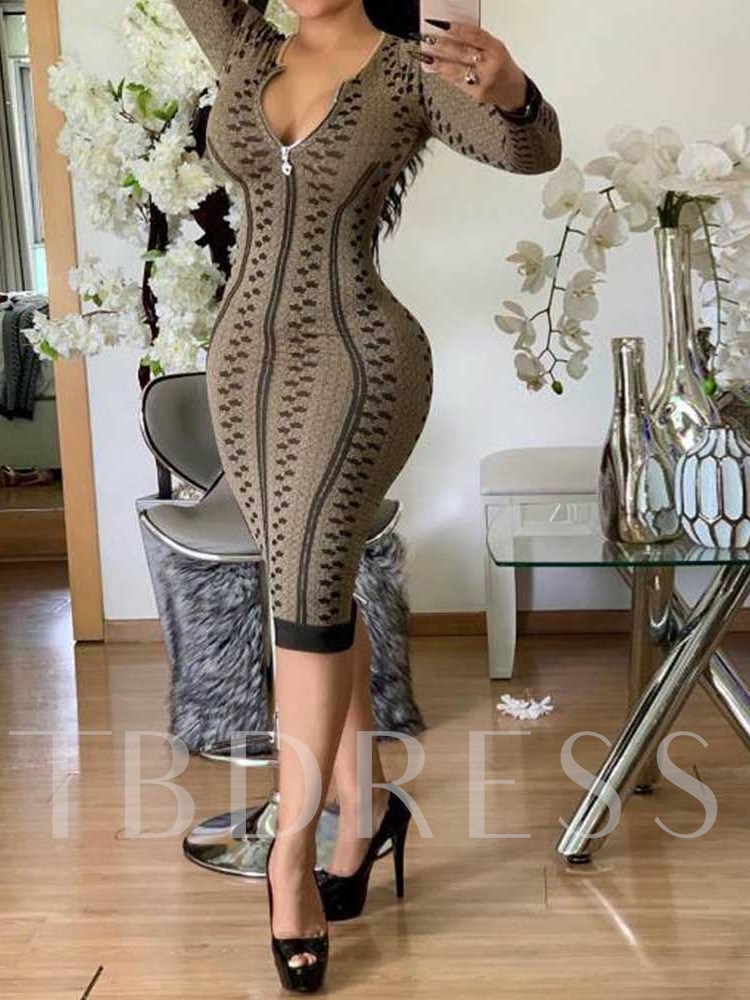Long Sleeve Mid-Calf Print Mid Waist Women's Dress