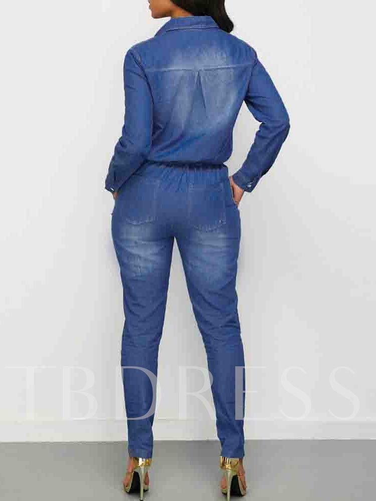 Worn Full Length Slim Button Women's Jumpsuit