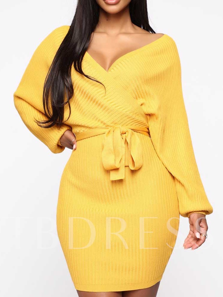 Above Knee Long Sleeve V-Neck Batwing Sleeve Women's Long Sleeve Dress