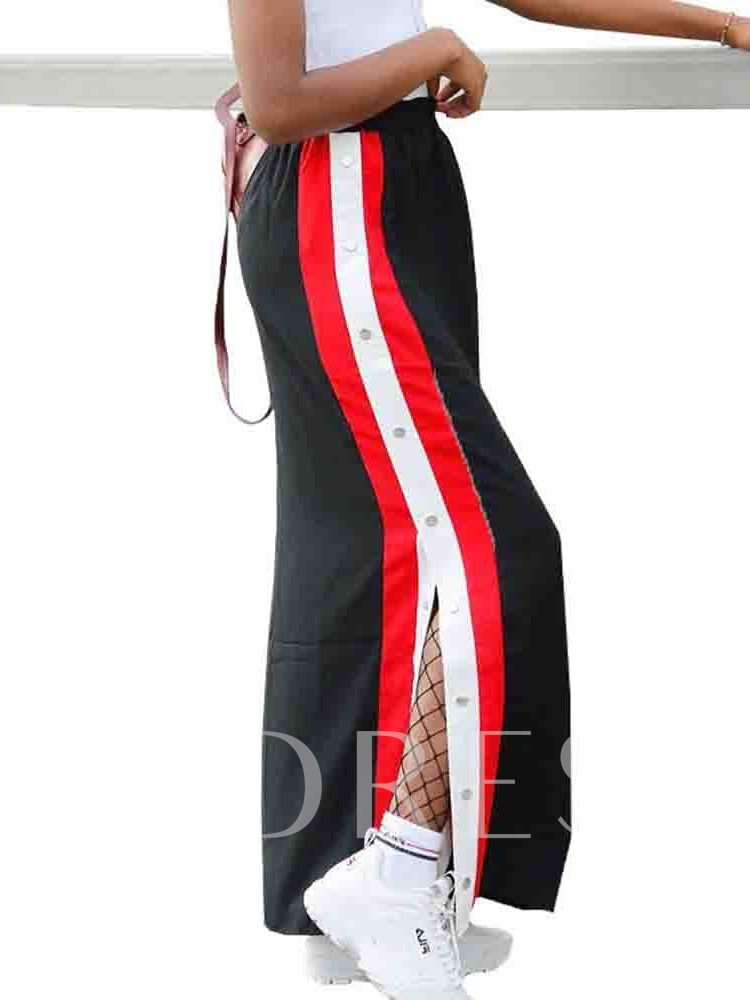 Straight Color Block Ankle-Length Casual Women's Skirt