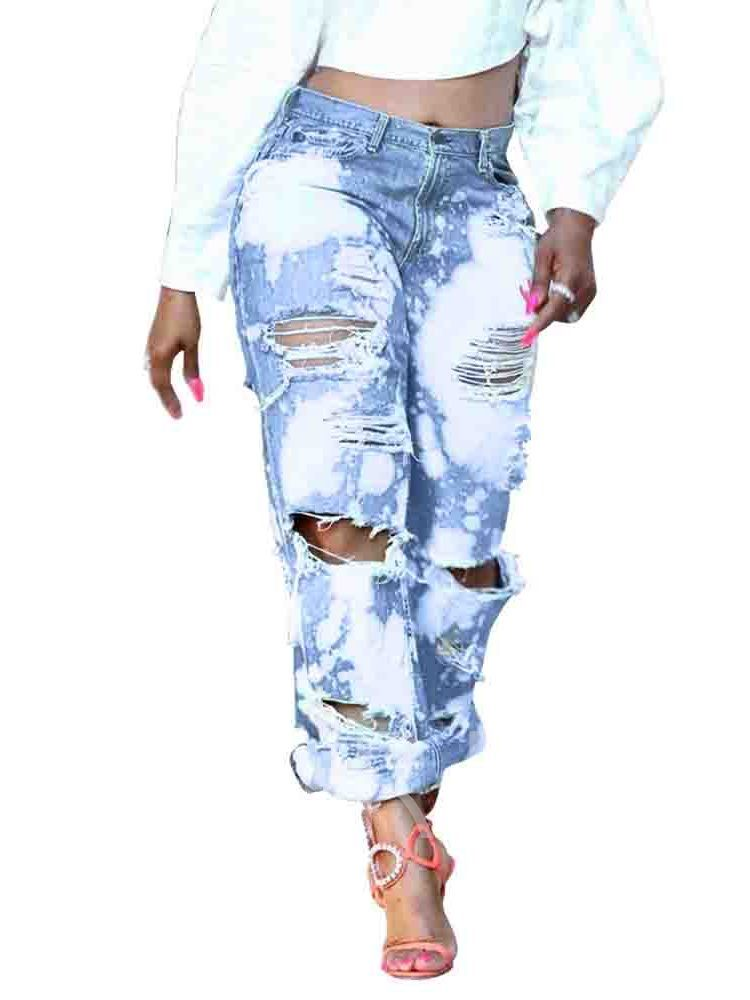 Hole Straight Loose Fashion Women's Jeans