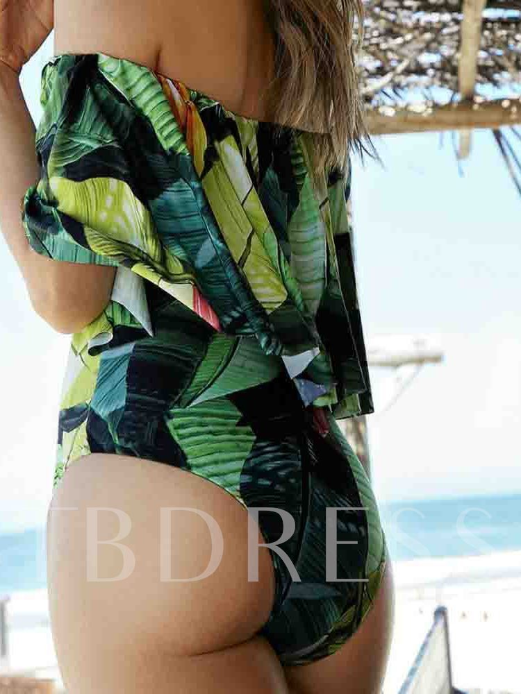 Print One Piece Off Shoulder Color Block Sexy Women's Swimwear