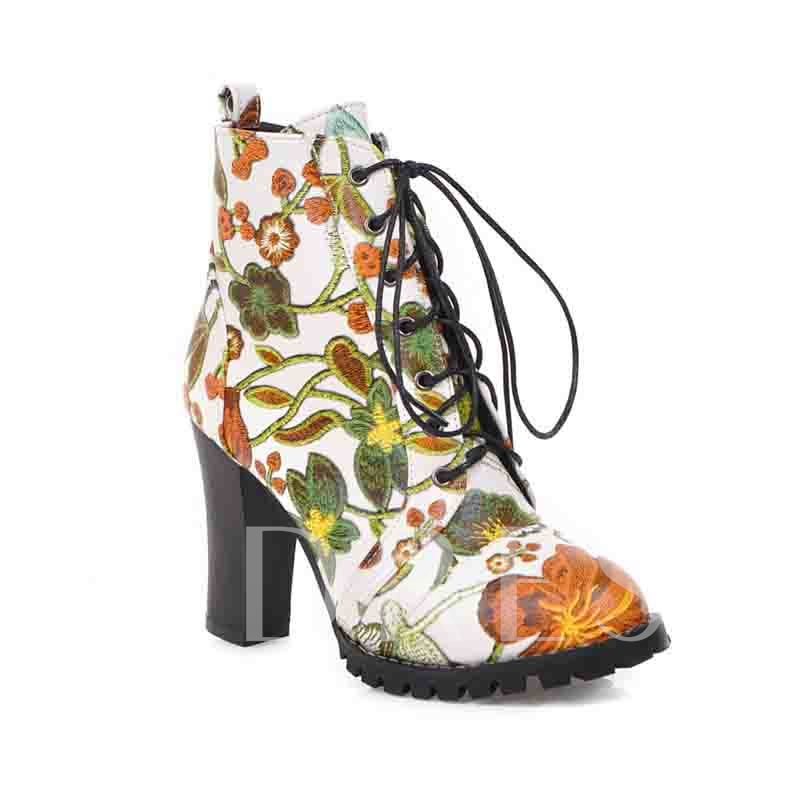 Round Toe Chunky Heel Lace-Up Front Floral Ankle Boots