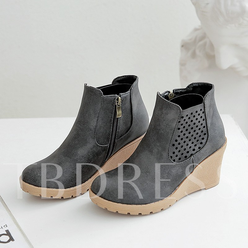 Wedge Heel Round Toe Side Zipper Ankle Boots