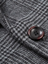 Button Mid-Length Notched Lapel Plaid Single-Breasted Men's Coat