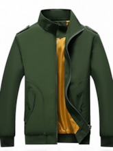 Thick Stand Collar Zipper Plain European Men's Jacket