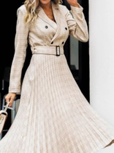 Mid-Calf Notched Lapel Long Sleeve Pleated Fashion Women's Day Dress