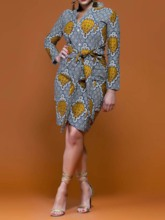 Long Sleeve Knee-Length V-Neck Print Regular Women's Day Dress
