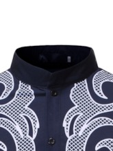 Casual Color Block Print Stand Collar Men's Shirt