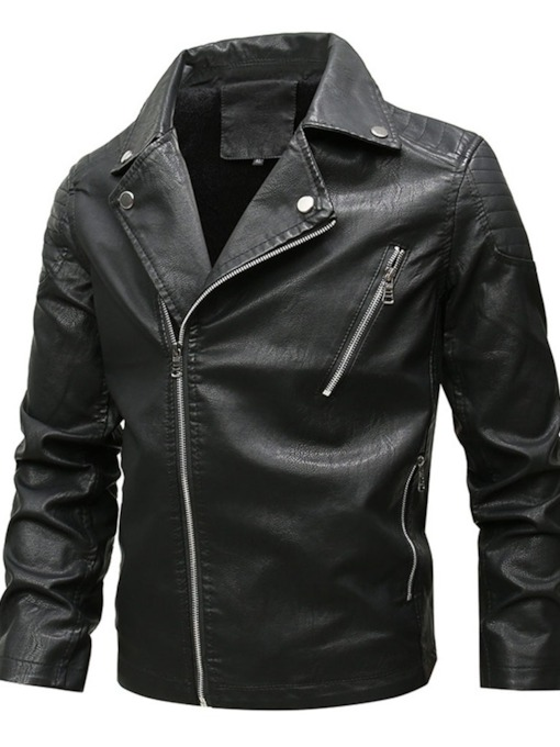Standard Lapel Plain Zipper Men's Leather Jacket