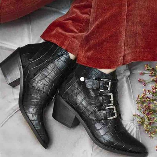 Pointed Toe Chunky Heel Plain Side Zipper Ankle Boots
