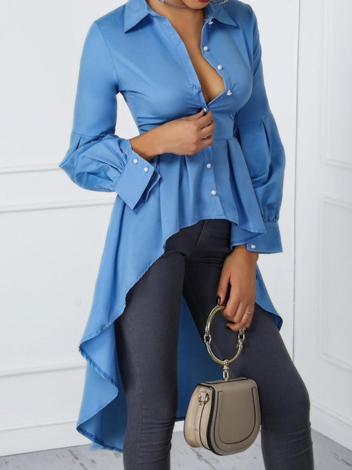 Plain Swallowtail Lapel Long Sleeve Women's Blouse