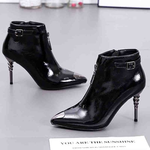 Pointed Toe Plain Front Zipper Stiletto Heel Ankle Boots