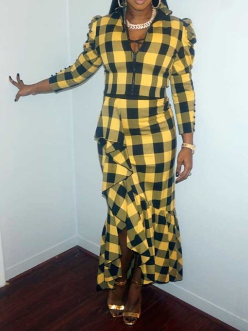 Color Block Plaid Women's Two Piece Sets