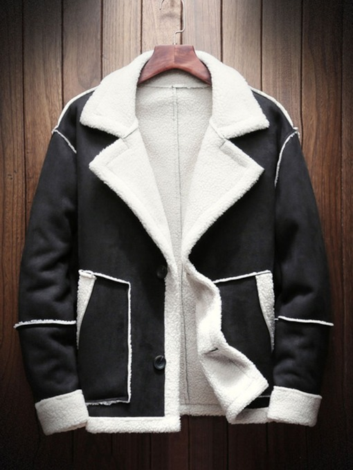 Pocket Mid-Length Color Block Fashion Men's Coat