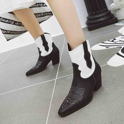 Pointed Toe Color Block Slip-On Chunky Heel Ankle Boots