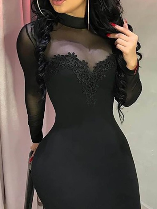 Stand Collar Patchwork Long Sleeve Above Knee Fall Women's Bodycon Dress