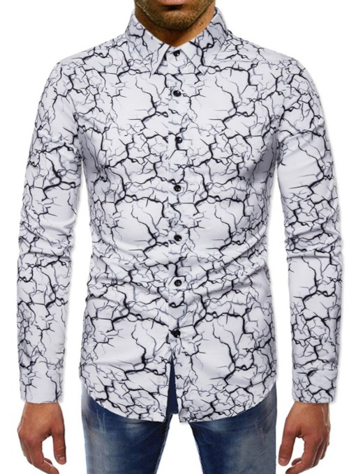 Print Lapel Color Block European Slim Men's Shirt