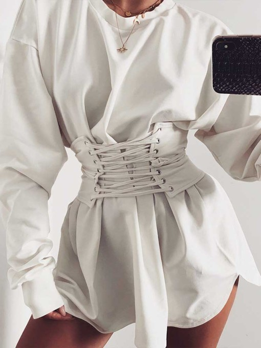 Long Sleeve Above Knee Round Neck Lace-Up Spring Women's Day Dress