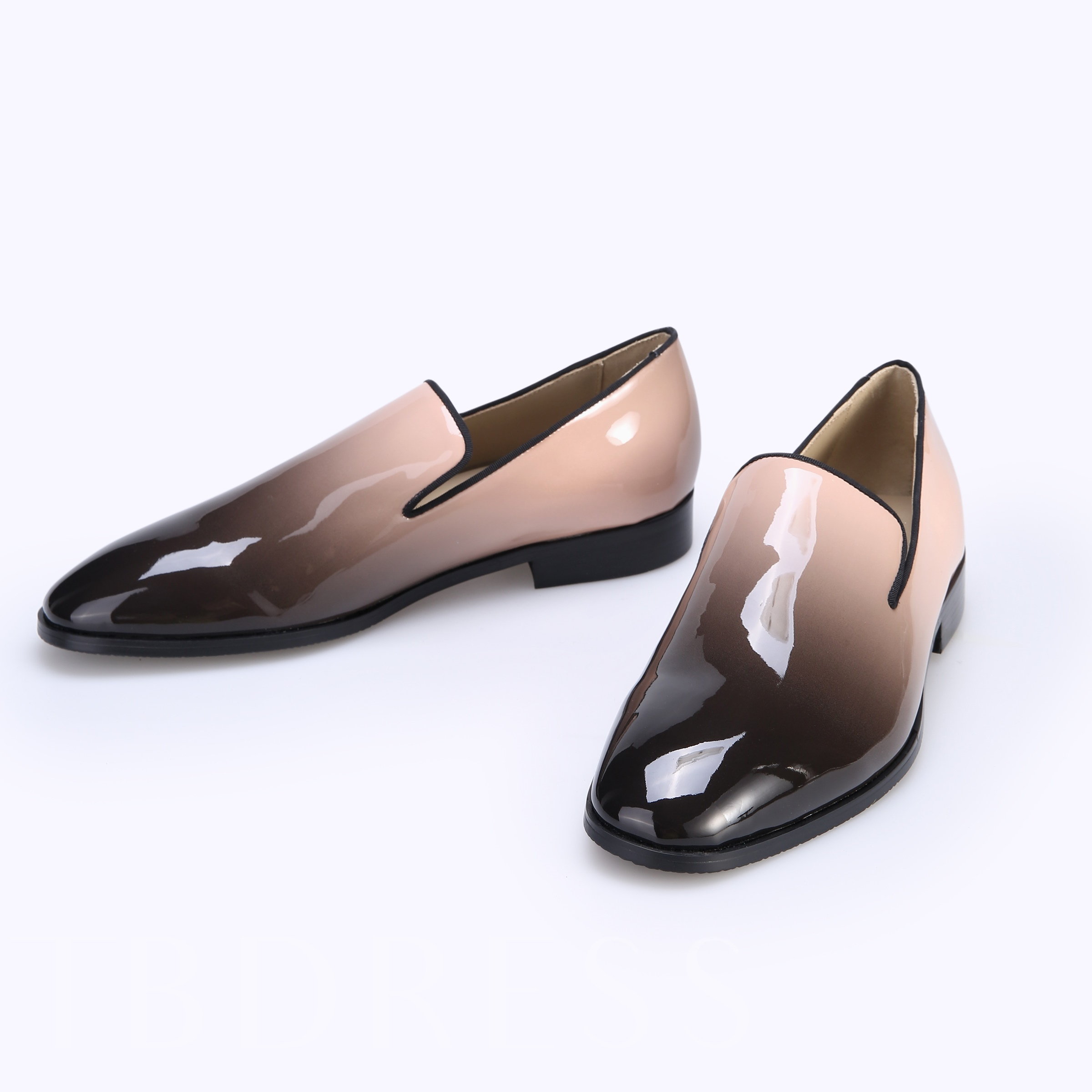Gradient Patent Leather Slip-On Square Toe Men's Dress Shoes