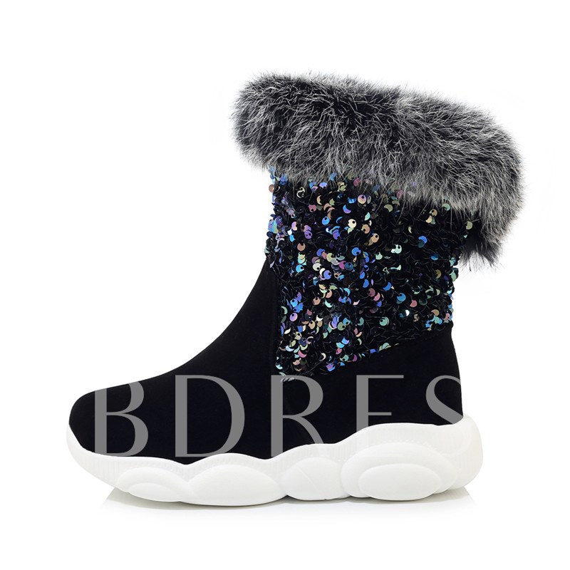 Round Toe Slip-On Sequin Fluffy Ankle Boots