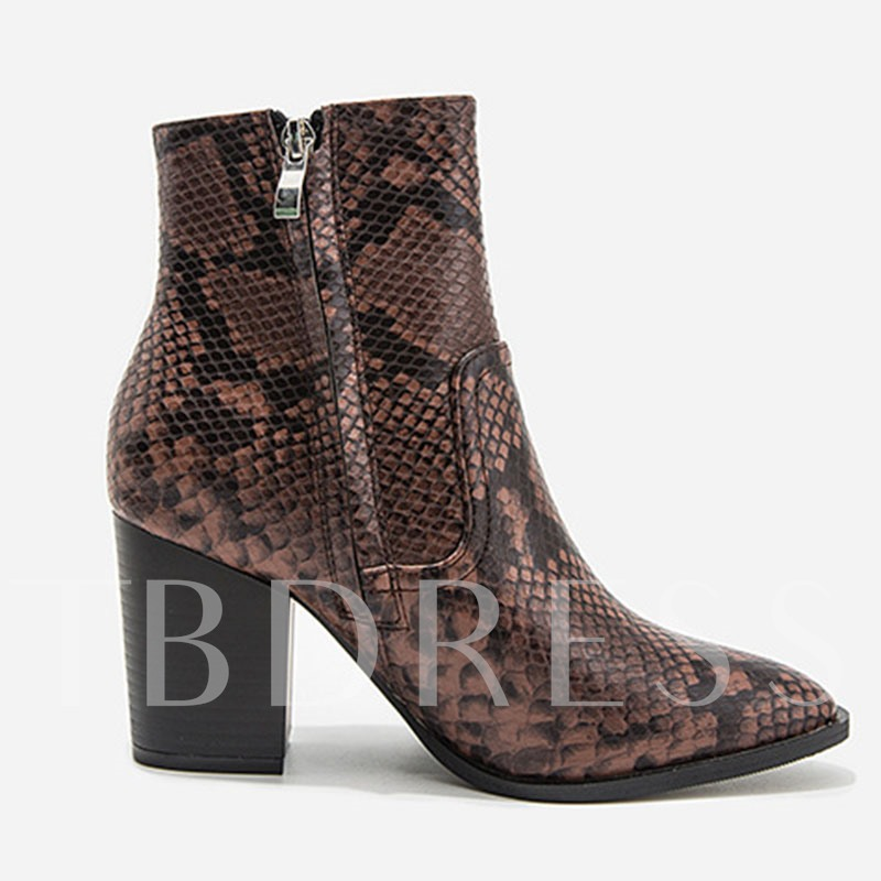 Serpentine Pointed Toe Chunky Heel Side Zipper Ankle Boots