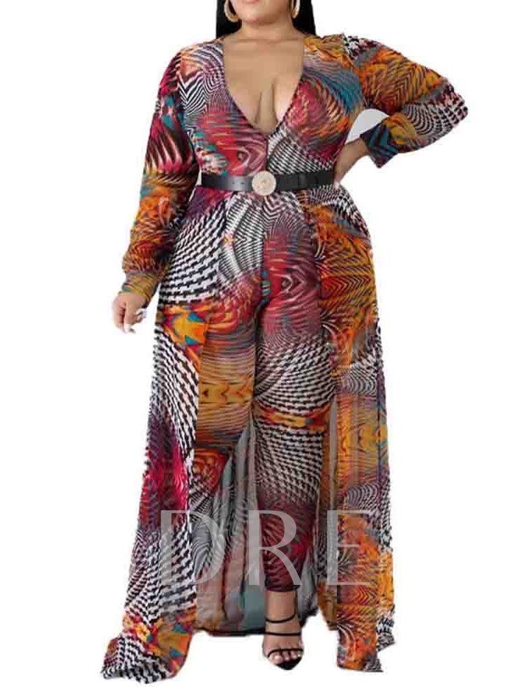 Plus Size Color Block Full Length Loose Women's Jumpsuit