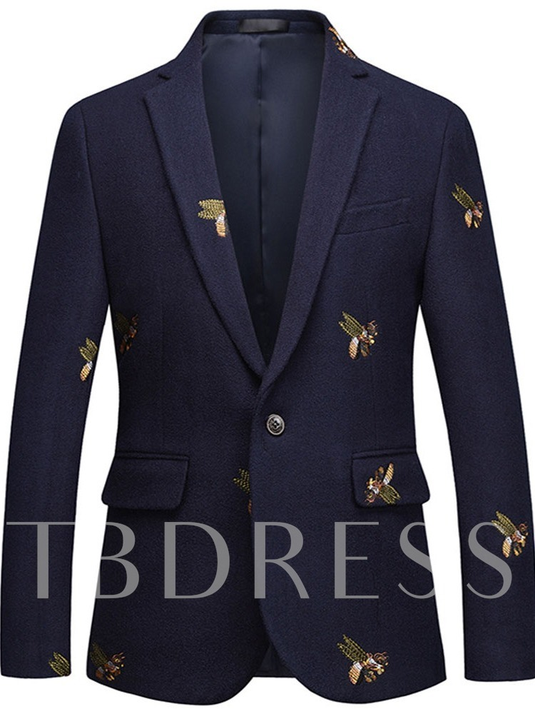 Button Notched Lapel Color Block Fashion Men's Leisure Blazers