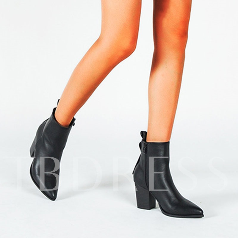 Plain Chunky Heel Side Zipper Pointed Toe Ankle Boots