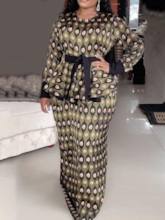 Round Neck Long Sleeve Floor-Length Print Bodycon Women's Dress