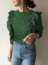 V-Neck Polka Dots Button Standard Women's Blouse