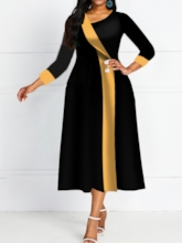 Mid-Calf Oblique Collar Three-Quarter Sleeve Pullover Women's Maxi Dress