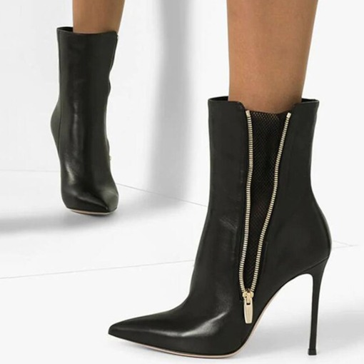 Stiletto Heel Customized Pointed Toe Side Zipper PU Ankle Boots