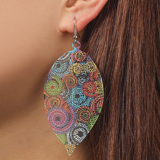 Alloy Hollow Out Color Block Holiday Earrings