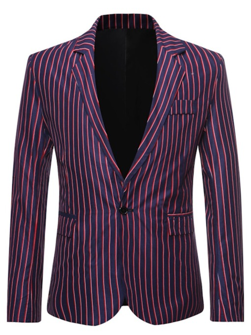 Casual Stripe One Button Notched Lapel Men's Leisure Blazers
