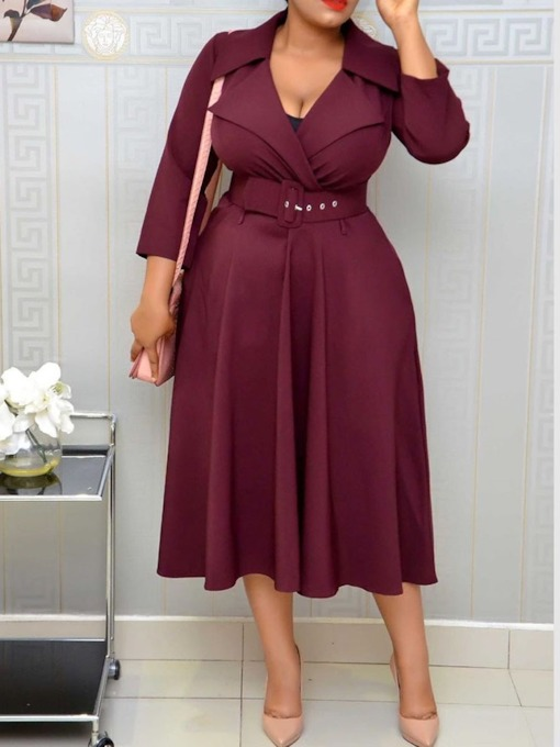 Three-Quarter Sleeve Notched Lapel Mid-Calf Plain Women's Day Dress