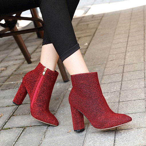 Chunky Heel Pointed Toe Plain Side Zipper Glitter Ankle Boots