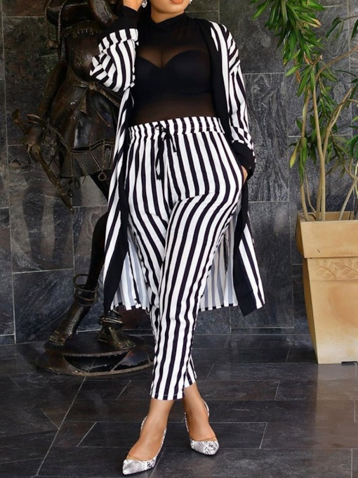 Coat And Pants Stripe Women's Two Piece Sets